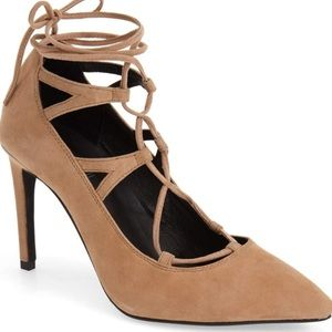 Jeffrey Campbell lace up nude shoes